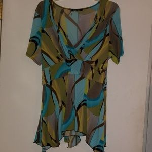 Only Nine Women Colorful Top Size 1X